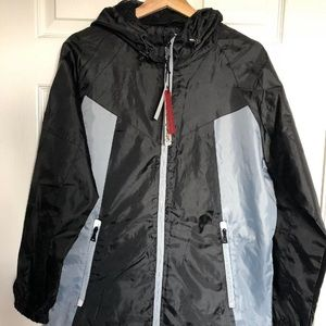 ONE POINT ONE Mens Black Windbreaker Jacket Size S